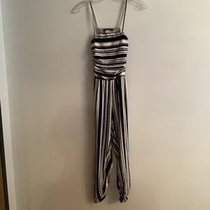 Girls striped jumpsuit with ruched waist and legs